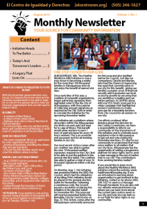 Monthly Newsletter August 2016 - Source for Community Information