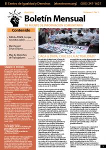 Boletín Mensual de Abril - El CENTRO de Igualdad y Derechos