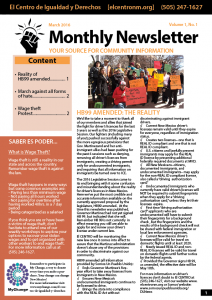 Monthly newsletter cover photo for March 2016.