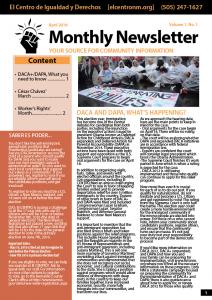 Monthly Newsletter April 2016 - El CENTRO de Igualdad y Derechos